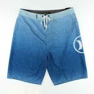 """Hurley Mens Axis 21"""" Swim Board Shorts Blue Ombre"""